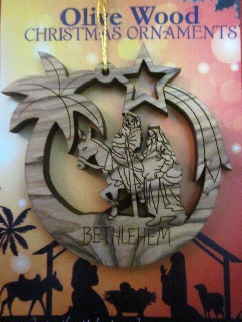 Olive Wood Bethlehem Holy Family Christmas Ornament 9