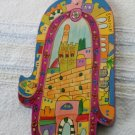 Wood Hamsa Emanuel Hand Painted Wall Decor  'Jerusalem Walls'
