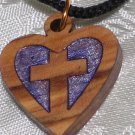 5 Pcs Olive Wood Inlay Heart Cross Pendant Necklace