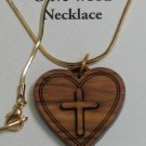 Double Layered Heart Cross Olive Wood Pendant Necklace With Gold Chain