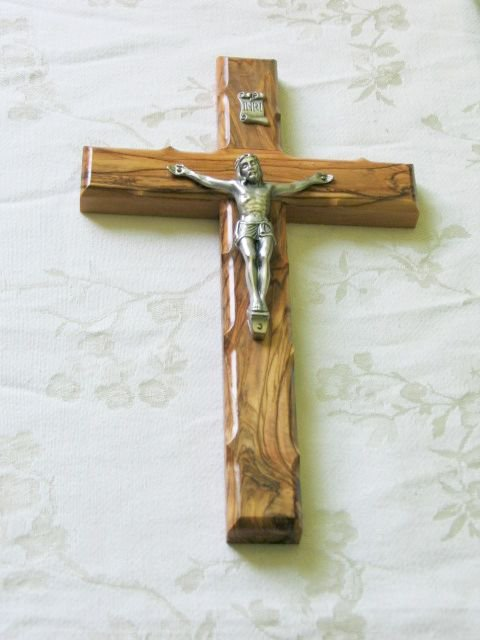 10 Inch Olive Wood Wall Cross with Crucifix