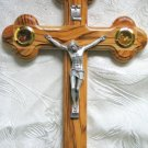 11 Inch Olive Wood 14 Station Wood Cross Crucifix with 4 Lens