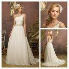 One Shoulder  Ivory Chiffon Backless Wedding Dress