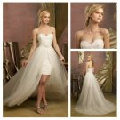 Ivory Tulle and Lace Sweehteart Short Front Long Back Wedding Dress