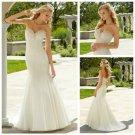 Mermaid Ivory Organza Sweetheart Crystal Beaded Wedding Dress