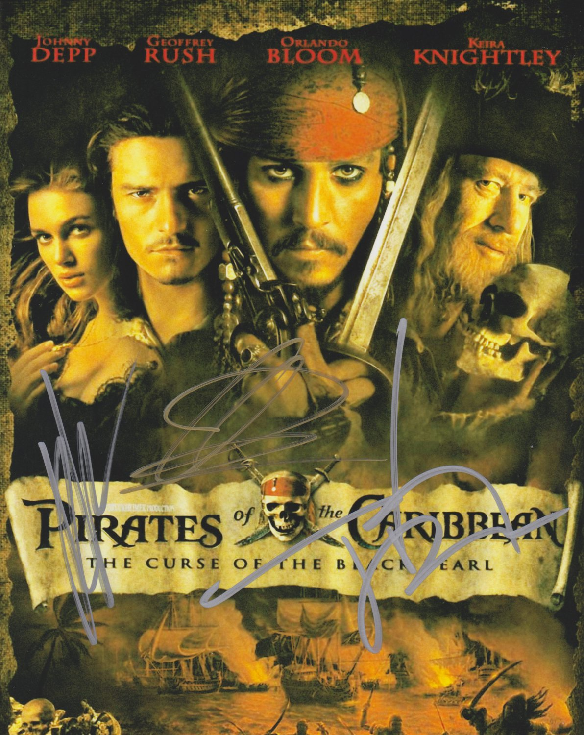 Pirates Of The Caribbean X3 Autographed Original Hand Signed 8x10 Photo