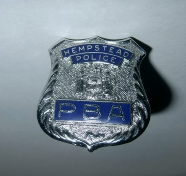 PBA Hempstead Police Dept. Shield Car Hood Ornament New York Vintage Enamel