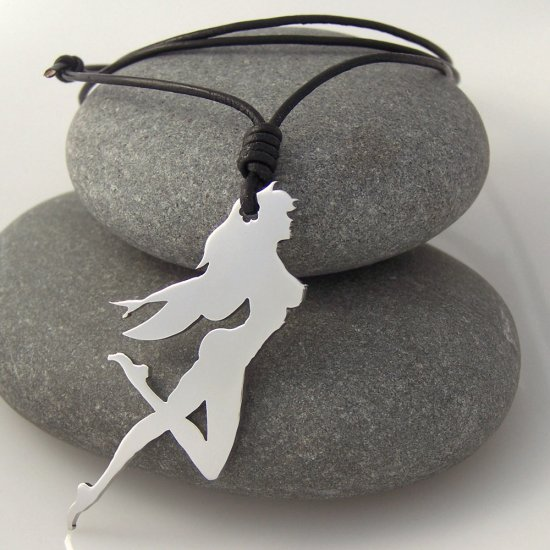 Girl, stainless steel pendant on natural leather cord. A surfer style necklace