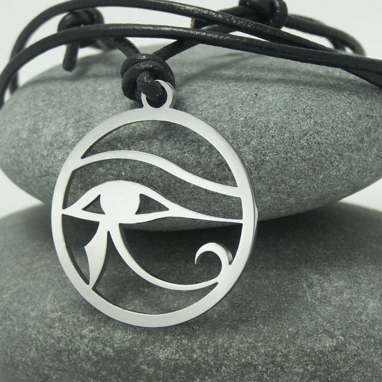 Eye of Ra ( Horus ) - ancient Egyptian symbol, stainless steel pendant on natural leather cord.