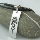 Tribal dragon, stainless steel tag pendant on natural leather cord. A surfer style necklace