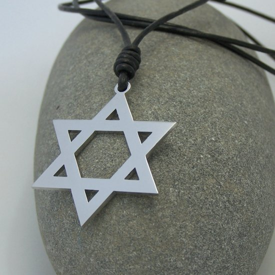 Star of David, stainless steel pendant on natural leather cord. A surfer style necklace