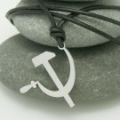 Hammer & Sickle, stainless steel pendant on natural leather cord. A surfer style necklace