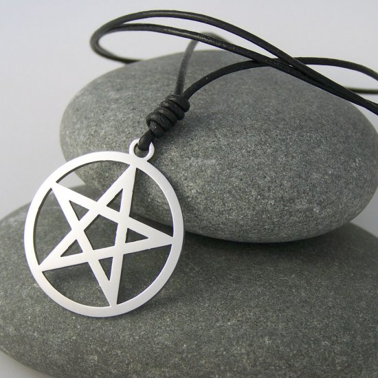 Pentagram ( pentacle ), stainless steel pendant on natural leather cord. A surfer style necklace