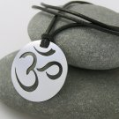 Om (aum), stainless steel pendant on natural leather cord. A surfer style necklace