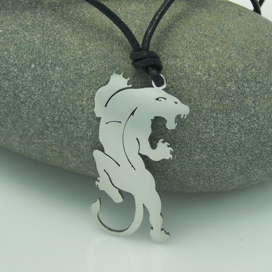 Tribal Tiger, Panther, stainless steel pendant on natural leather cord. A surfer style necklace