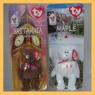 2-1999 TY McDonald's Teenie Beanies NIP Britannia Maple