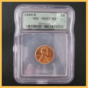 1955-S Lincoln Wheat Cent Penny MS67 RD Red FS ICG
