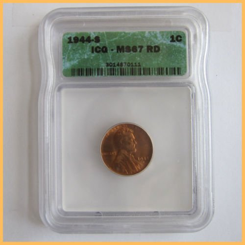 1944-S Lincoln Wheat Cent Penny MS67 RD Red FS ICG