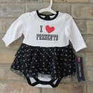 Cherokee I Heart Presents Black & White One Piece Tutu Christmas NB FREE Ship