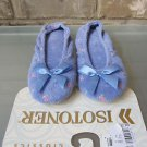 Isotoner Classics Blue Flowers Embroidered Slippers Size Small 5 - 6 FREE Ship!