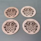 """Leather Coaster Owl Design 3.5"""" Round Set 4 PC Laser Graphic New Free Shipping"""