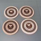 Leather Coaster Set 4 PC Laser Graphic Design Premium Coffee New Free Shipping
