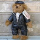 Biker Bear Black Hat Brown Fur Gift Tag Attached Flowers INC. Balloons Free Ship