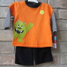 Halloween Carter's Two Piece Just One You 3M Orange Black Green Monster Glow