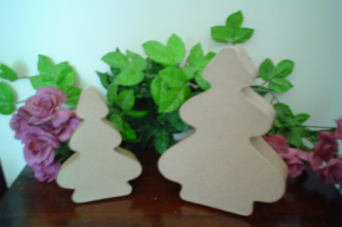 Rounded Paper Mache Christmas Tree Boxes or Angels