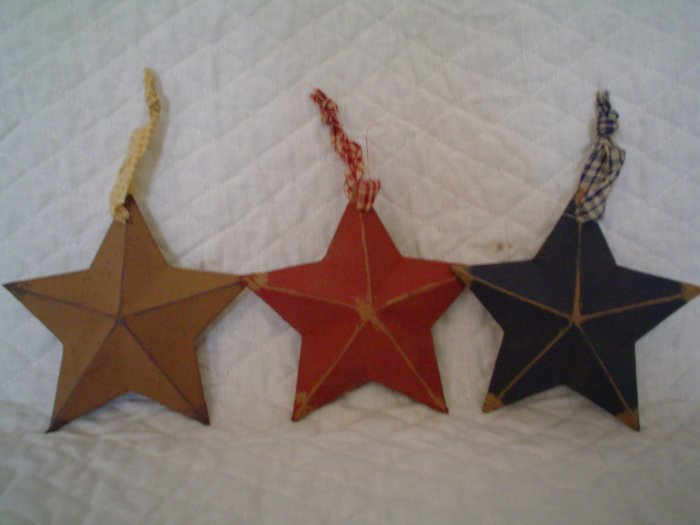 Primitive Americana Paper Mache Star Ornaments