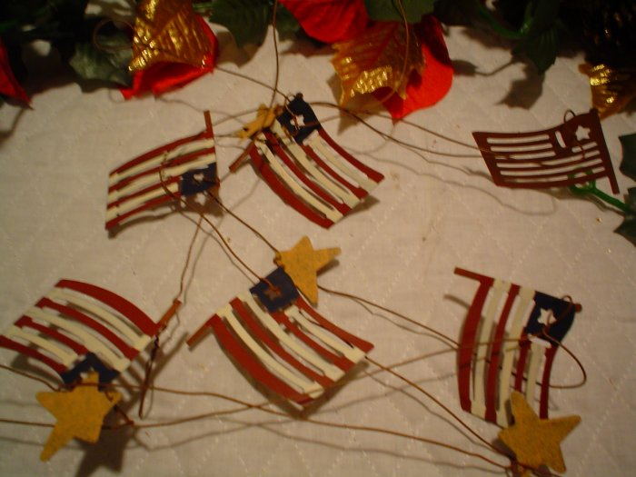 Americana Metal Flag and Star Garland