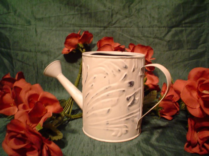 Chippy White Metal Watering Can