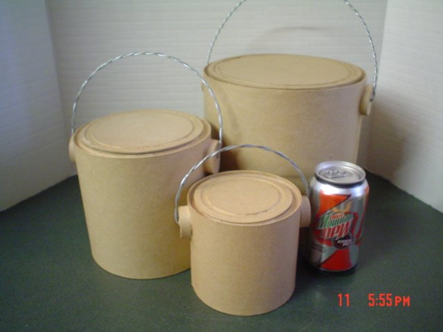 Set of Three Paper Mache Paint Cans