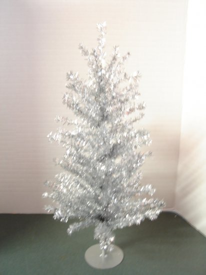 Silver Tinsel 18 Inch Christmas Tree