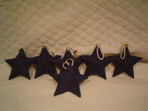(12) Paper Mache Blue Textured Star Ornaments