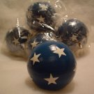 Six Blue with Stars Ball Ornaments
