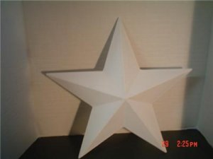 WOODEN 3D BARN STAR 15 INCH - PRIMED AND READY TO PAINT