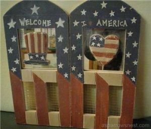 Country Primitive Americana Mirrored Plaque Set