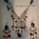 Peruvian Jewelry Alpaca Silver and Black Onyx Stone Necklance and Earrings