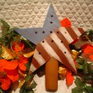 Huge Primitive Rusty Red White & Blue Metal Star Tree Topper