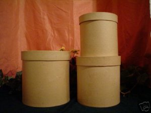 PAPER MACHE LARGE ROUND STACKING BOXES