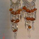 Peruvian Jewelry Alpaca Silver and Brown Casajo Stone Chandeleir Earrings