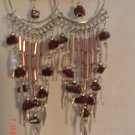 Peruvian Jewelry Alpaca Silver and Burgundy Casajo Stone Chandeleir Earrings
