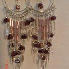Peruvian Jewelry Alpaca Silver and Burgundy Casajo Stone Chandeleir Earrings