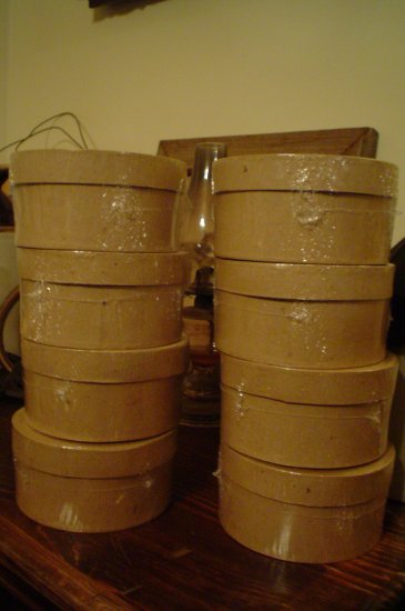 24 Round Paper Mache Stacking Boxes 8 Sets