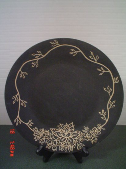 Primitive Black and Cream Plate with Hand Painted Design