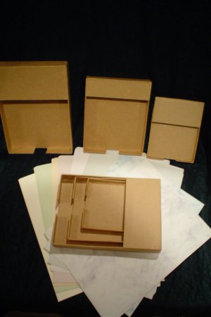 PAPER MACHE STATIONERY SET NOTE HOLDERS