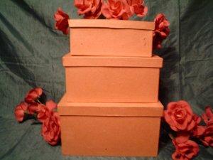 PAPER MACHE LARGE RECTANGLE  BOX SET - Ready to Paint