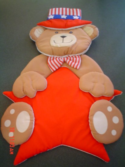 Patriotic Teddy Bear Wall or Door Hanging- Fabric Decoration