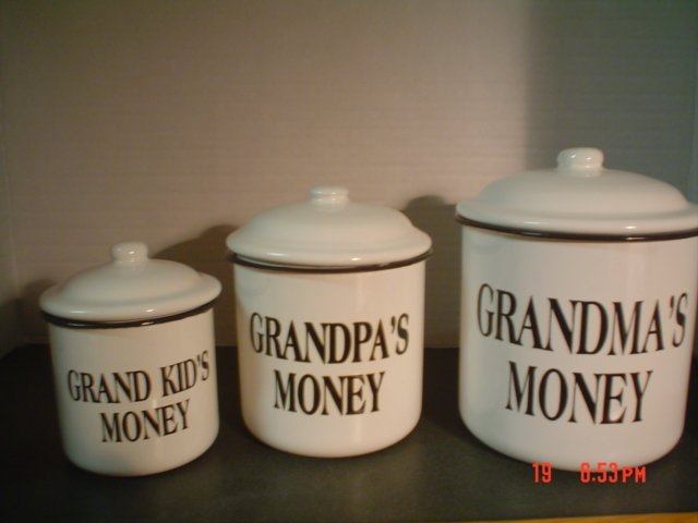 BLACK AND WHITE ENAMELWARE CANISTERS �Grandma�s Money, Grandpa�s Money, Grandkid�s Money